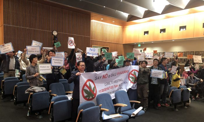 Local residents express outrage against the cannabis industry during the city council weekly meeting at Milpitas City Hall, in Milpitas, Calif. on Nov. 20, 2018. (Nathan Su/The Epoch Times)