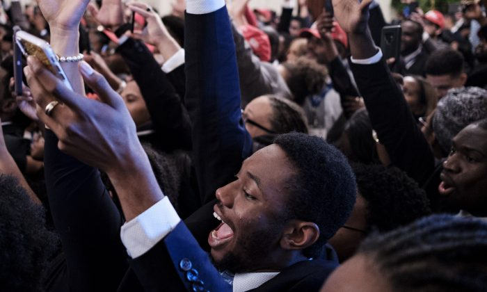 Young black conservative leaders from across the country cheer as U.S. President Donald Trump speaks as part of the 2018 Young Black Leadership Summit in the East Room of the White House on Oct. 26, 2018 in Washington, DC. (Pete Marovich/Getty Images)