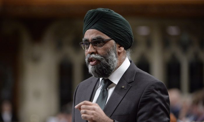 Minister of National Defence Minister Harjit Sajjan responds to a question during Question Period in the House of Commons, on Nov. 22, 2018 in Ottawa. (The Canadian Press/Adrian Wyld)