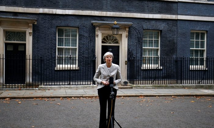 Britain's Prime Minister Theresa May outside 10 Downing Street in London on Nov. 22, 2018. (Reuters/Henry Nicholls)