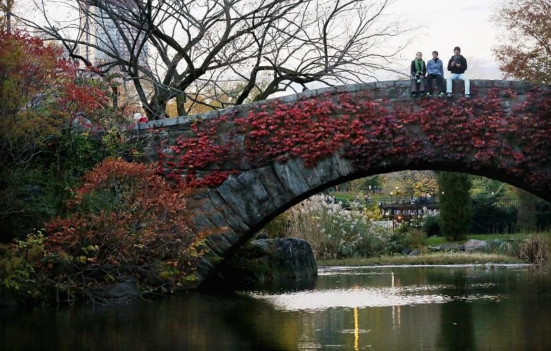 People sit on the Gapstow bridge.