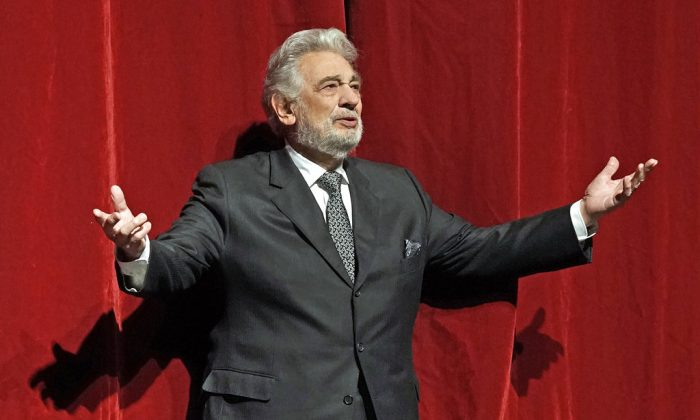 Placido Domingo stands on stage at the Metropolitan Opera in New York, on Nov. 23, 2018. Domingo celebrated the 50th anniversary of his debut at the Met. (Ken Howard/Metropolitan Opera via AP)
