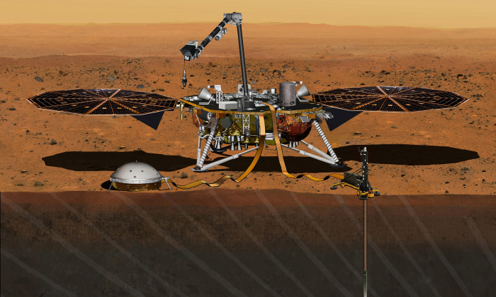 The NASA Martian lander InSight dedicated to investigating the deep interior of Mars is seen in an undated artist's rendering.  REUTERS/NASA/JPL-Caltech/Handout via Reuters/File Photo