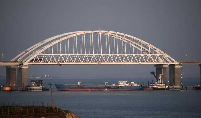 The Kerch bridge is seen blocked for ships entrance, near Kerch, Crimea, Sunday, Nov. 25, 2018. (The Associated Press)