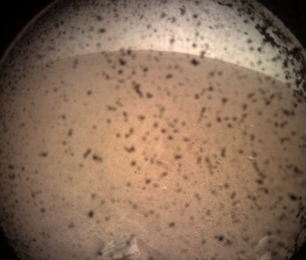 NASA's InSight Mars lander acquired this image of the area in front of the lander using its lander-mounted, Instrument Context Camera (ICC) with the ICC image field of view of 124 x 124 degrees, on Mars