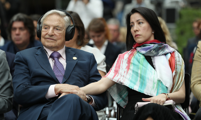 Financier and philanthropist George Soros and his wife, Tamiko Bolton, at the German Foreign Ministry on June 8, 2017 in Berlin, Germany. (Sean Gallup/Getty Images)