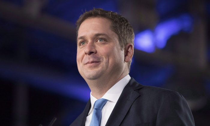 Federal Conservative Leader Andrew Scheer addresses the Ontario PC Convention in Toronto on Nov. 17, 2018. Scheer and Kevin O'Leary have joined forces in hopes of defeating the Liberals in 2019. (The Canadian Press/Chris Young)