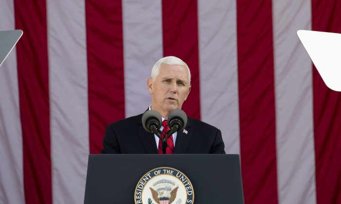Vice President Mike Pence on Nov. 11, 2017. (Samira Bouaou/The Epoch Times)