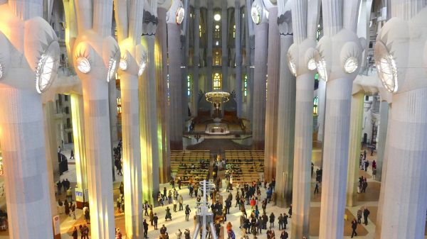 Inside the Basilica of the Sagrada Familia in Barcelona.