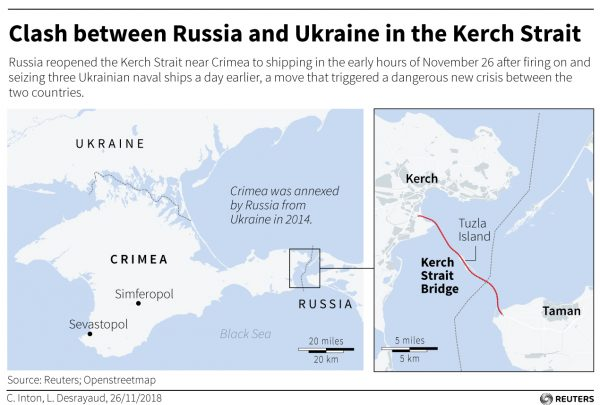 an annotated map graphic showing the location of the clash between Russia and Ukraine