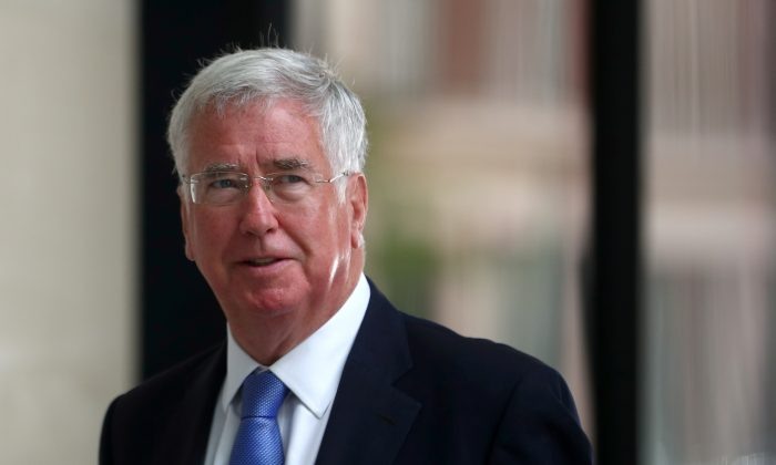 Conservative politician Michael Fallon arrives at the BBC in central London,  on July 10, 2018. (Reuters/Hannah McKay)