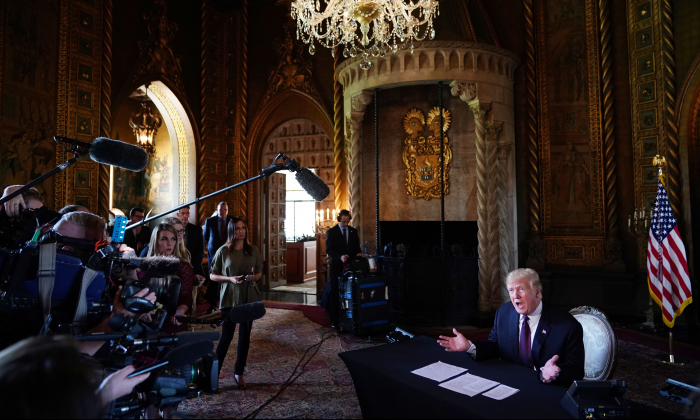 President Donald Trump speaks at his Mar-a-Lago resort in Palm Beach, Florida, on Thanksgiving Day, November 22, 2018. (Mandel Ngan/AFP/Getty Images)