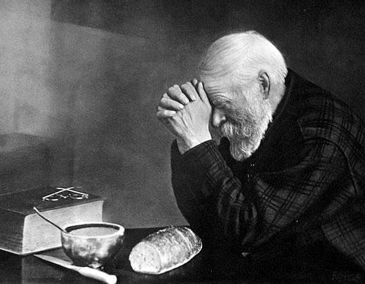 """""""Grace,"""" the famous photo by Eric Enstrom, epitomizes the idea that humanity needs more than bread to live fully. (Public Domain)"""