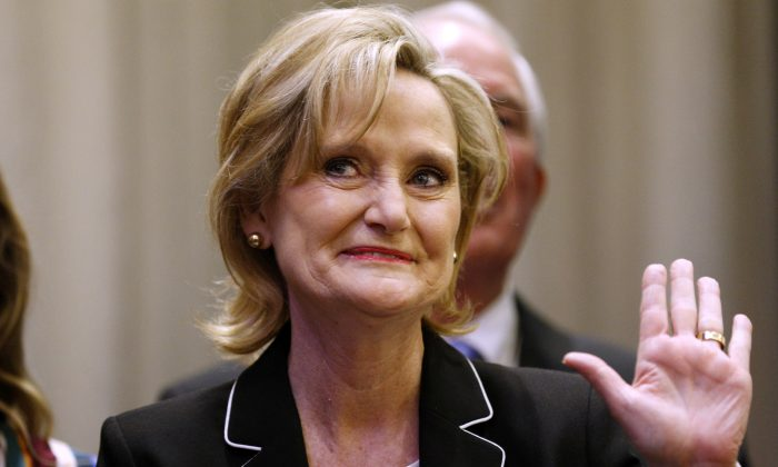 Cindy Hyde-Smith (R-Miss.) at an election night party in Jackson, Miss., on Nov. 27, 2018. (Jonathan Bachman/Reuters)