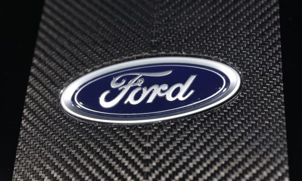 The Ford logo is seen at the New York Auto Show in the Manhattan borough of New York City