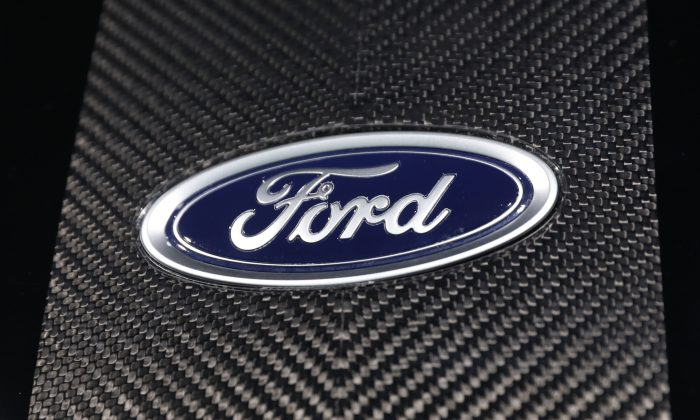 The Ford logo is seen at the New York Auto Show in the Manhattan borough of New York City, New York, on March 29, 2018. (Shannon Stapleton/Reuters)