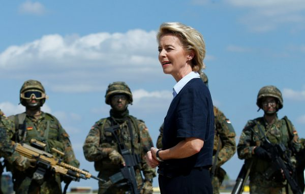 German defense minister at a helicopter regiment