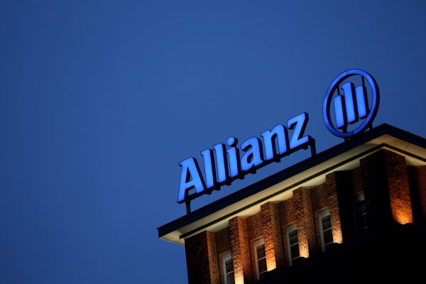 The logo of German insurer Allianz stands on the company's office buildings in Berlin, Germany.
