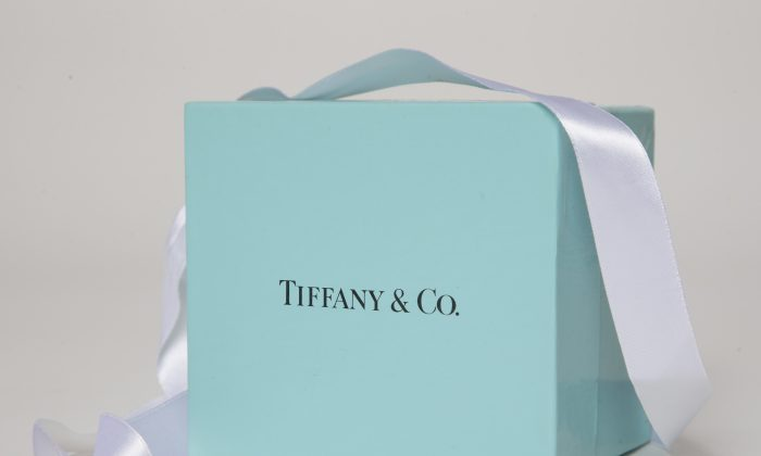 A gift box from Tiffany & Co. is arranged for a photo in Surfside, Fla. on May 22, 2017. Tiffany & Co. reports earnings on Nov. 28, 2018. (Wilfredo Lee, AP)