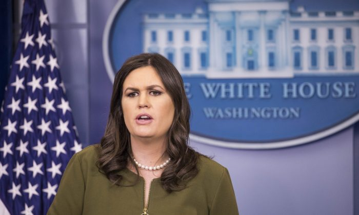 White House press secretary Sarah Huckabee Sanders speaks during a White House press briefing in Washington on March. 5, 2018. (Samira Bouaou/The Epoch Times)