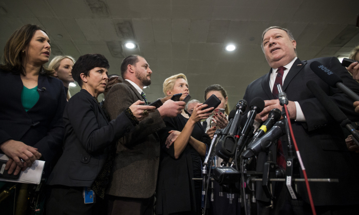 Secretary of State Mike Pompeo speaks to the press after briefing members of the Senate on the current relationship between Saudi Arabia and the United States on Capitol Hill on November 28, 2018 in Washington, DC. (Zach Gibson/Getty Images)