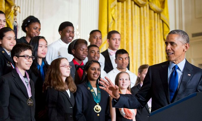 Former President Barack Obama delivers remarks after viewing science projects at the White House Science Fair on March 23, 2015. During his remarks, President Obama announced more than $240 million in pledges to boost the study of STEM subjects. Not much of the money promoting STEM subjects has produced the desirable results. (Drew Angerer/Getty Images)