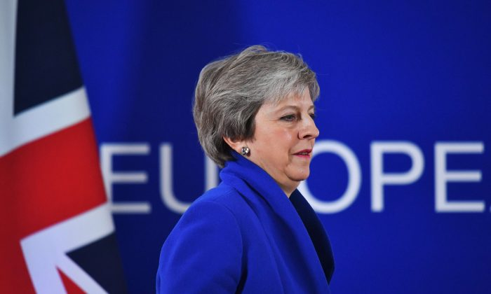 Britain's Prime Minister Theresa May in Brussels, Belgium, on Nov. 25, 2018. (Reuters/Dylan Martinez)