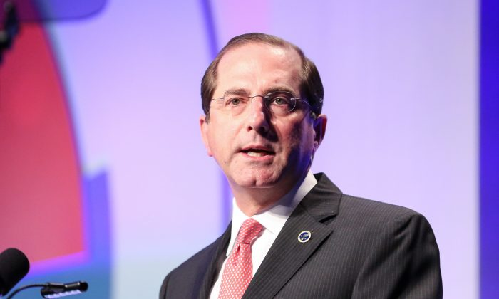 """Secretary of Health and Human Services Alex Azar speaks at a caregiver for veterans conference """"Hidden Heroes Among Us"""" in Washington on Nov. 26, 2018. (Holly Kellum/NTD)"""