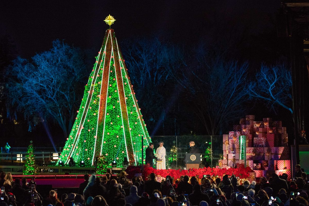National Christmas Tree Lighting.Trump And First Lady Attend National Christmas Tree Lighting