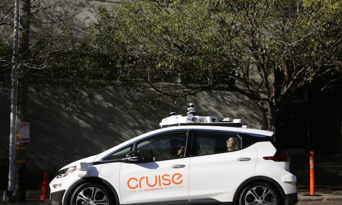A self-driving Chevy Bolt EV car is pictured during a media event in San Francisco, California on Nov. 28, 2017. (Elijah Nouvelage/Reuters)