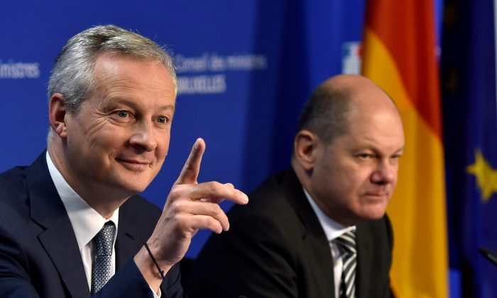 French Economy Minister Bruno Le Maire and German Finance Minister Olaf Scholz in Brussels, Belgium, on Nov. 19, 2018. (Reuters/Eric Vidal/File Photo)
