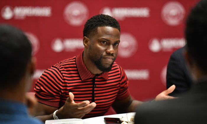 "Kevin Hart speaks during during the ""Night School"" Atlanta University Center press junket at Morehouse College in Atlanta, Georgia on Sept. 11, 2018. (Paras Griffin/Getty Images for Universal Pictures)"