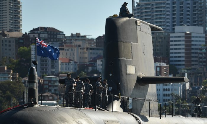 The Royal Australian Navy's HMAS Waller (SSG 75), a Collins-class diesel-electric submarine, in Sydney Harbour on Nov. 2, 2016. 