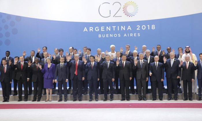 World leaders pose for a picture during the opening day of the Argentina G-20 Leaders' Summit 2018 in Buenos Aires, Argentina, on Nov. 30, 2018. U.S. President Donald Trump is pictured in the front row (sixth from L) with Chinese leader Xi Jinping (ninth from L). (Daniel Jayo/Getty Images)