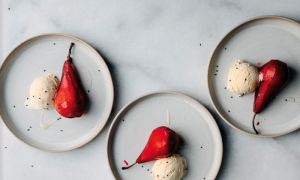 Ginger and Hibiscus Poached Pears With Ice Cream