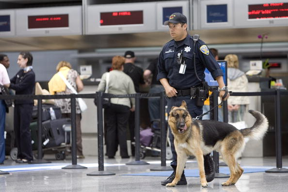 San Francisco police officer Carlos Cordova and his dog Fax patrol the ticketing area of the International Terminal at the San Francisco International Airport on July 3, 2007 in San Francisco, Calif. (David Paul Morris/Getty Images)