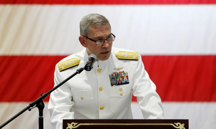 U.S. Navy Vice Admiral Scott A. Stearney, Commander of 5th Fleet and head of Naval Forces Central Command, speaks during the Change of Command U.S. Naval Forces Central Command 5th Fleet Combined Maritime Forces ceremony at the U.S. Naval Base in Bahrain, May 6, 2018. (Hamad I Mohammed/Reuters)