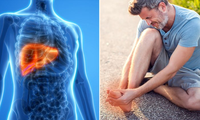 Image showing liver pain on the left and man on the ground with foot pain on the right. (Illustration - Shutterstock)
