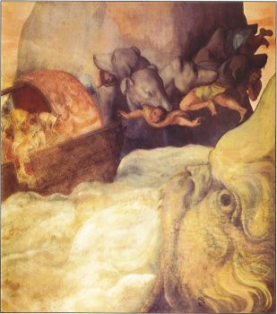 Odysseus passing Scylla and Charybdis
