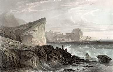 """A 19th-century engraving of the Strait of Messina, the site associated with the ancient mythic creatures Scylla and Charybdis. This episode in the """"Odyssey"""" has ramifications for today. (Public Domain)"""