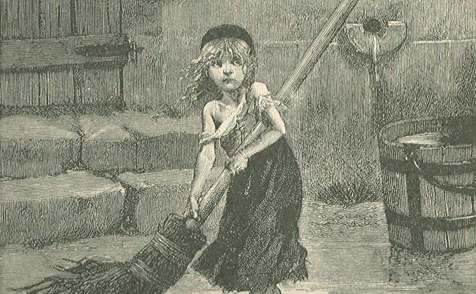Young Cosette sweeping in the 1886 engraving for Victor Hugo's novel, Les Miserables. (Public Domain)