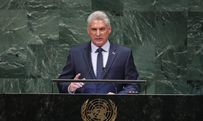 Cuban President Miguel Diaz-Canel Bermudez addressing the United Nations General Assembly on Sept. 26, 2018, in New York City. Díaz-Canel has recently been on a tour of communist countries, meeting leaders from China, Vietnam, Laos, and North Korea, as well as stops in Russia and the UK.  (John Moore/Getty Images)