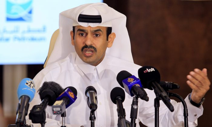 Saad al-Kaabi, chief executive of Qatar Petroleum, gestures as he speaks to reporters in Doha, Qatar, on July 4, 2017. (Naseem Zeitoon/Reuters)