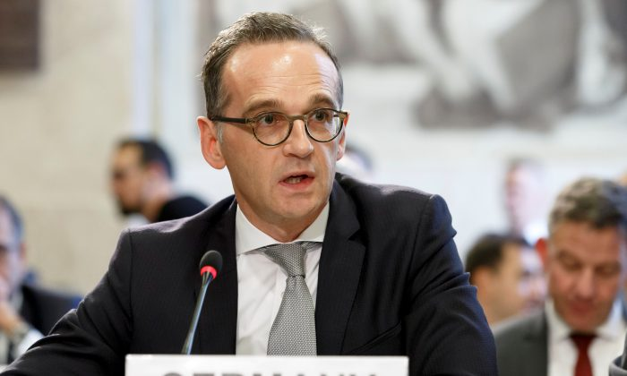 German Minister of Foreign Affairs Heiko Maas at the European headquarters of the United Nations in Geneva on Nov. 28, 2018. (Salvatore Di Nolfi/Pool via Reuters)