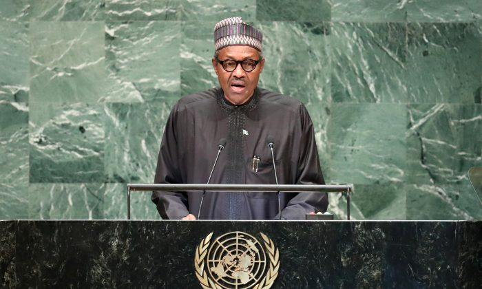 Nigeria's President Muhammadu Buhari addresses the 73rd session of the United Nations General Assembly at U.N. headquarters in New York, U.S., Sept. 25, 2018. (Carlo Allegri/Reuters)