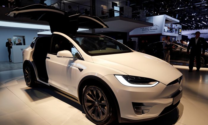 The Tesla Model X is seen on the second press day of the Paris auto show, in Paris, France, on Oct. 3, 2018. (Regis Duvignau/Reuters)