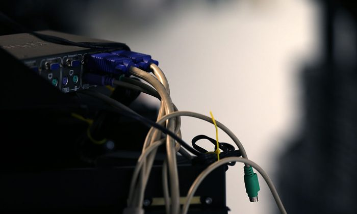 Computer cables are plugged in a server room on November 10, 2014 in New York City. (Michael Bocchieri/Getty Images)