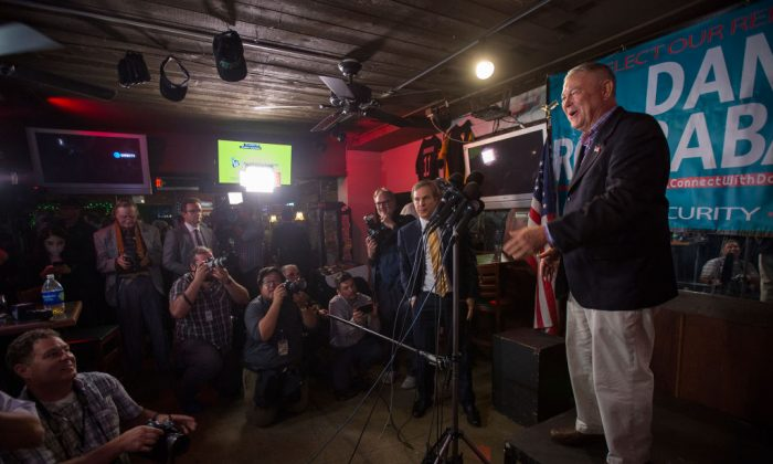 Longtime Rep. Dana Rohrabacher (R-Costa Mesa) talks to reporters on Election Night in Costa Mesa, Calif., on Nov. 6, 2018. (David McNew/Getty Images)