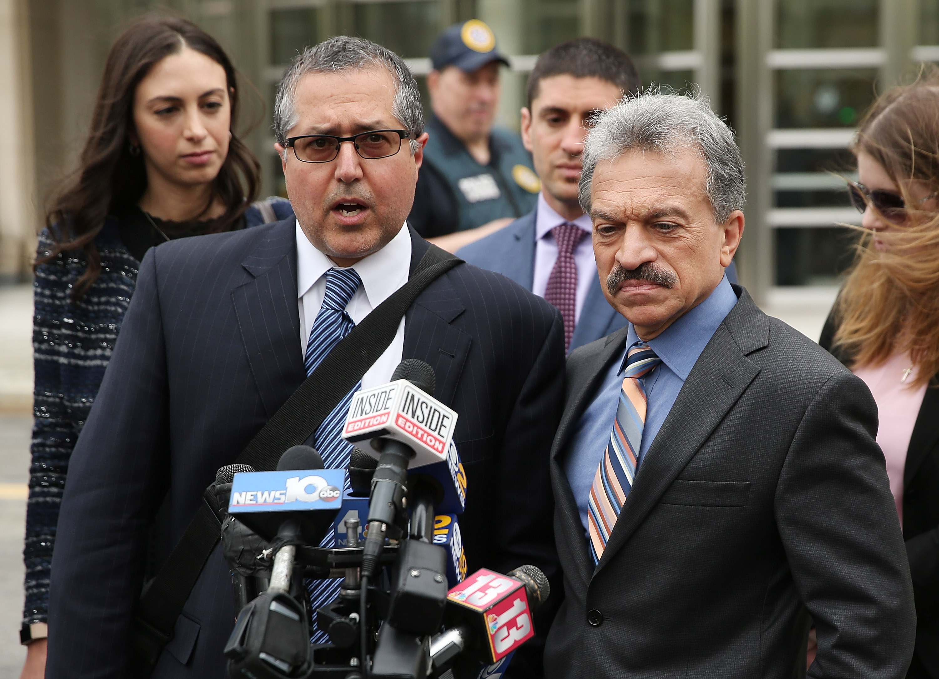 Legal Council representing Keith Raniere and the group NXIVM Mark Agnifilo and Paul DerOhannesian outside the United States Eastern District Court in Brooklyn, New York City