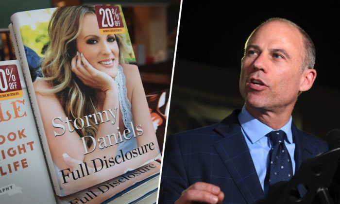 "(L) ""Full Disclosure,"" a memoir by adult-film actress Stormy Daniels, is offered for sale at a Barnes&Noble store in Chicago, Ill., on Oct. 2, 2018. (R) Lawyer Michael Avenatti speaks to the media outside the office of the LAPD after posting bail for domestic violence, Los Angeles, Nov. 14, 2018. (Scott Olson/Getty Images; AP Photo/Michael Owen Baker)"